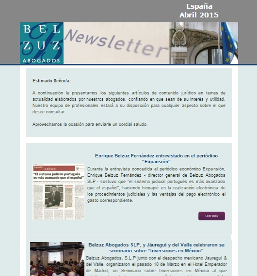 Newsletter España - abril 2015