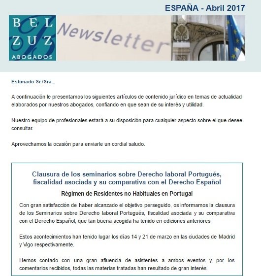 Newsletter España - Abril 2017
