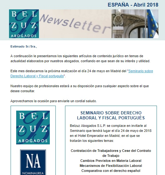 Newsletter España - Abril 2018