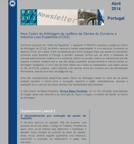 Newsletter Portugal - abril 2014