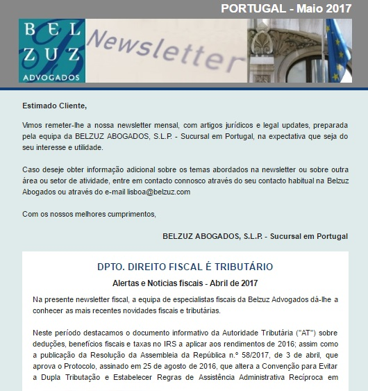 Newsletter Portugal - Maio 2017
