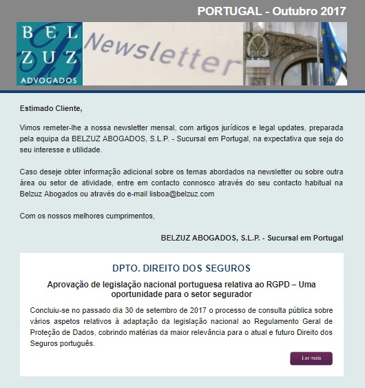 Newsletter Portugal - Outubro 2017