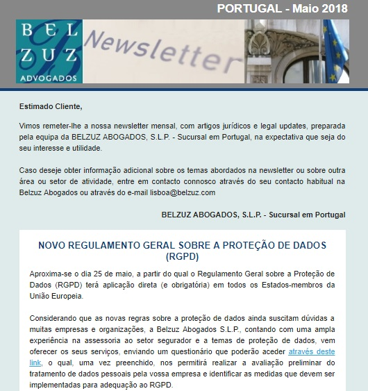 Newsletter Portugal - Maio 2018