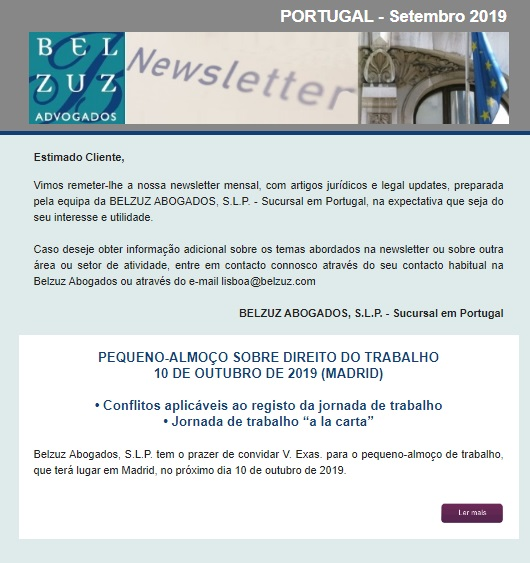 Newsletter Portugal - Setembro 2019