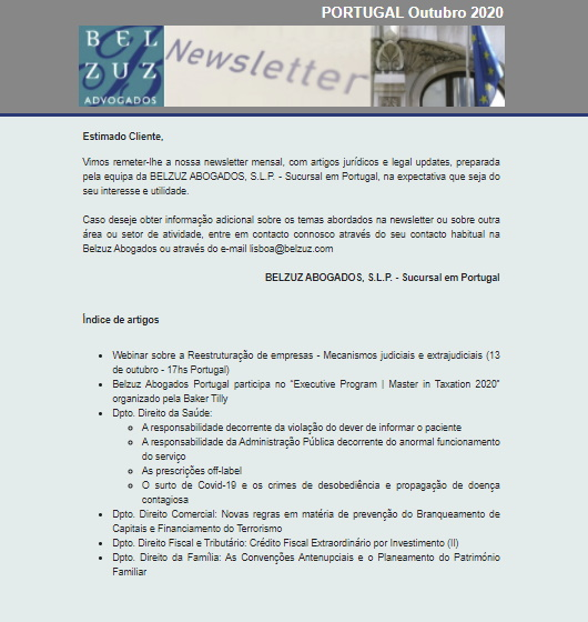 Newsletter Portugal - Outubro