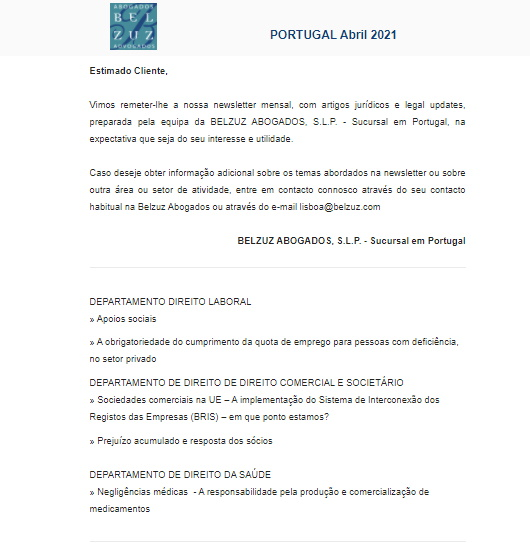 Newsletter Portugal - Abril